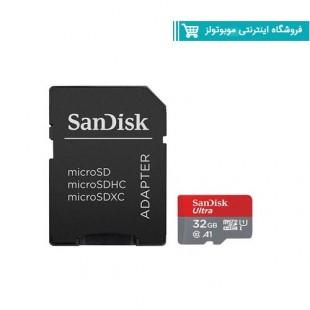 کارت حافظه microSDHC سن دیسک مدل Ultra A1 کلاس 10 استاندارد UHS-I سرعت 98MBps ظرفیت 32 گیگابایت به همراه آداپتور SD با گارانتی ایران رهجو