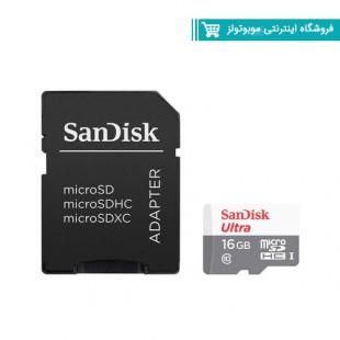 کارت حافظه microSDHC سن دیسک مدل Ultra A1 کلاس 10 استاندارد UHS-I سرعت 80MBps ظرفیت 16 گیگابایت به همراه آداپتور SD با گارانتی ایران رهجو