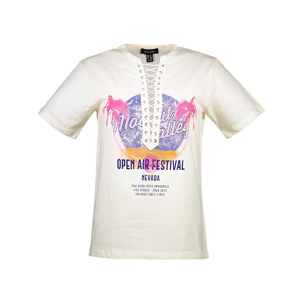 تی شرت نخی یقه گرد زنانه – نیو لوک – وانیلی
