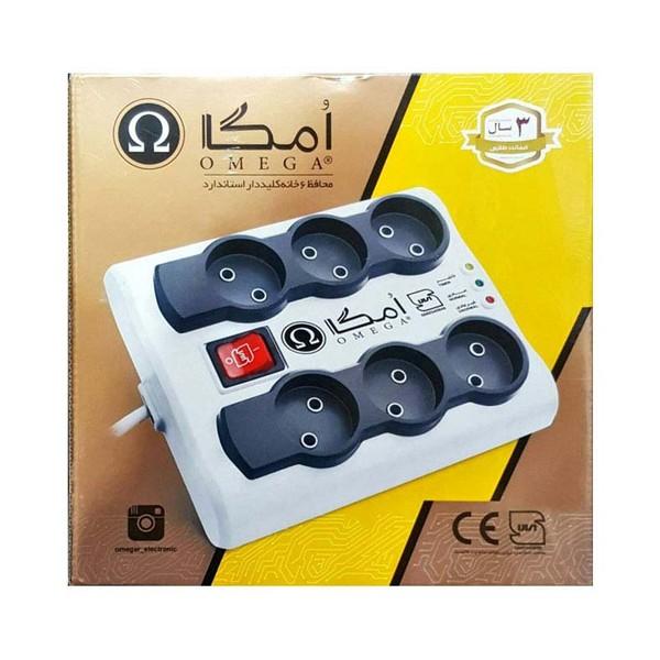 محافظ برق 6 خانه امگا P6000 سه متری مناسب لوازم دیجیتال