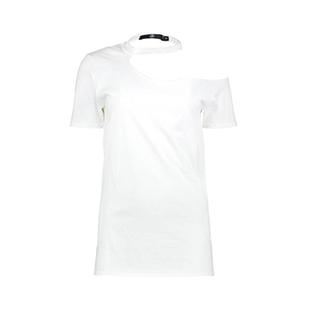 تی شرت نخی یقه چوکر زنانه – میسگایدد – سفید