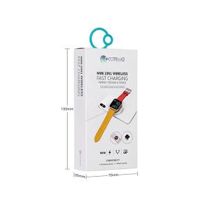 شارژر وایرلس گوشی و اپل واچ Coteetci WS-17 Mini 2 In 1 Wireless 10W