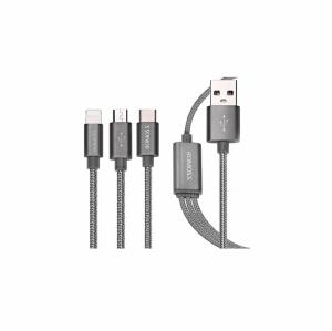 کابل تبدیل USB به microUSB/لایتنینگ/USB-C روموس مدل 3In1 به طول 1.5 متر