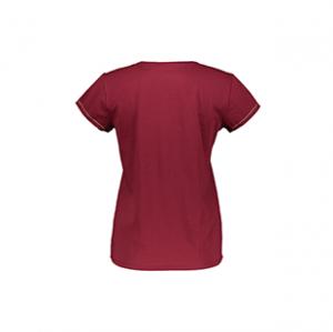 تی شرت نخی یقه گرد زنانه – اتام – قرمز تیره