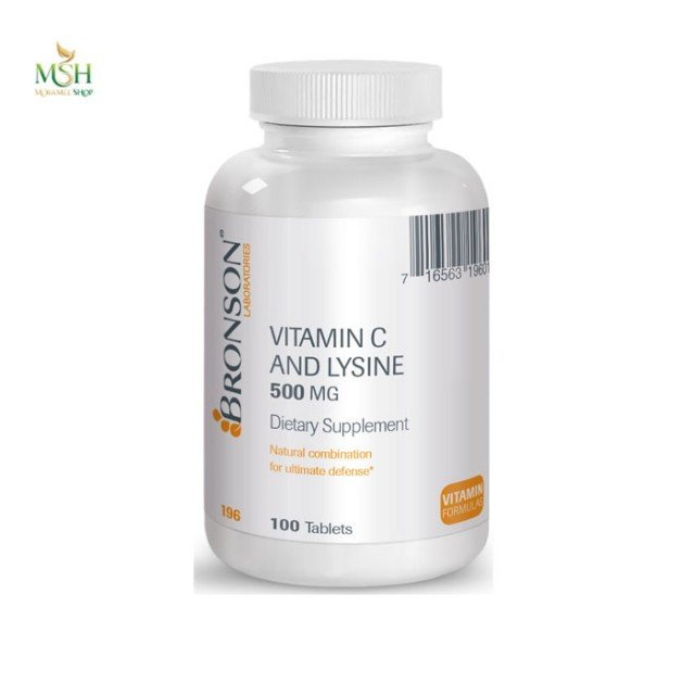 ویتامین ث و لیزین 500 میلی گرم برونسون | Bronson Vitamin C And Lysine 500 mg