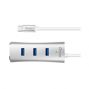 هاب 3 پورت Type-c به USB3وLAN دیتک DT-T0025