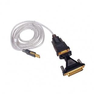 کابل تبدیل USB به RS232 دیتک 9 به 25 پین مدل Dtech DT-5003A همراه مبدل