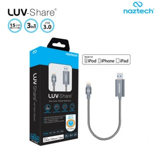 Naztech Lightning cable 128gig LUV-Share USB 3.0 15cm