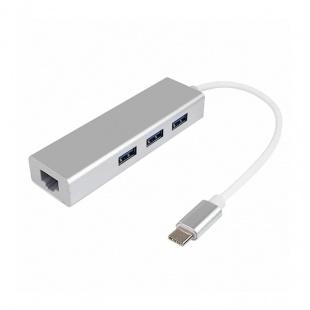 هاب USB-C به USB 3.0/ Ethernet سه پورت مدل Gigabit