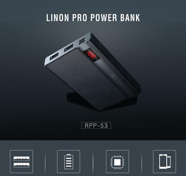 پاور بانک ریمکس مدل LINONRPP-53با ظرفیت 10000 میلی آمپر ساعت