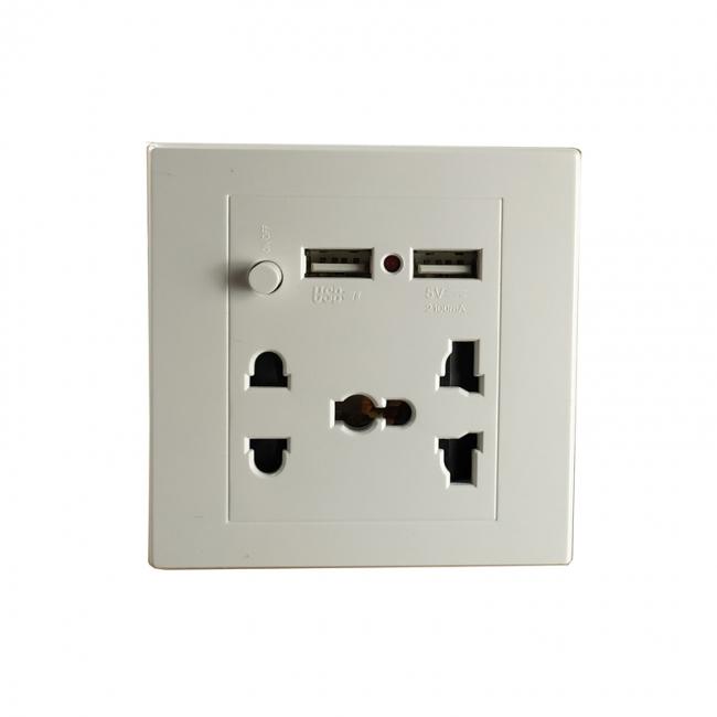 پریز برق شهری همراه با دو پورت شارژر  USB مناسب برای شارژ لپ تاپ و گوشی