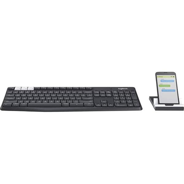 کیبورد بی سیم لاجیتک مدل Logitech K375s Multi-Device Wireless Keyboard and Stand Combo