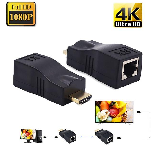 اکستندر hdmi  با کابل شبکه 30 متر  HDMI Extender Over CAT5e/6 Network Ethernet Adapter