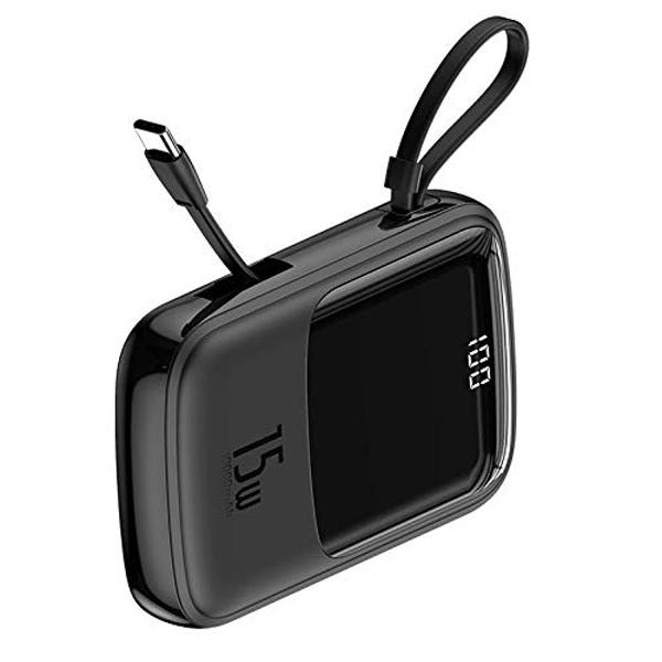 پاور بانک باسئوس Baseus Q pow Digital Display 3A Power Bank 10000mAh (With IP Cable)Black