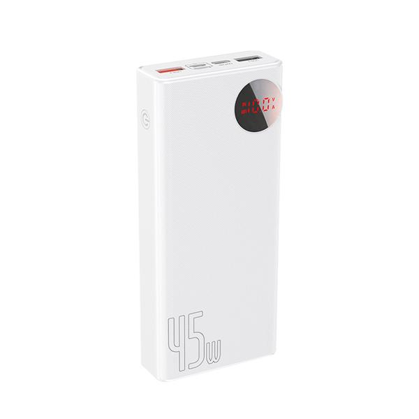 پاور بانک  باسئوس  Baseus Mulight Digital Display Quick charge PD3.0+QC3.0 Power Bank 18W 20000mAh White