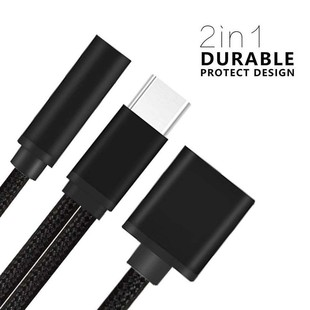 MN Type C to 3.5mm Headphone Audio Aux Jack & Charge Adapter..