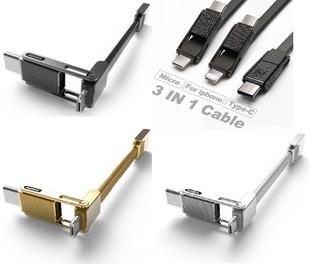 کابل تبديل USB به microUSB/USB-C/لايتنينگ ريمکس مدل Gplex