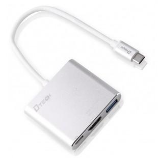 تبدیل Type-c به HDMI و USB-3 دیتک مدل Dtech DT-T0022