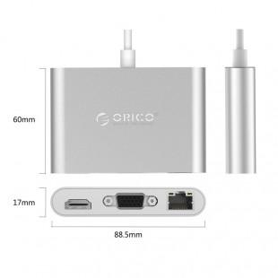 مبدل USB-C به USB/RJ45/VGA/HDMI اوریکو مدل RCNB