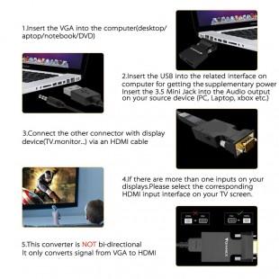 مشخصات تبدیل VGA و صدا به HDMI با کابل صدا و پاور به طول 20 سانتی متر