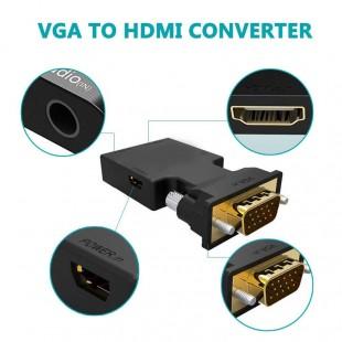 قیمت تبدیل VGA و صدا به HDMI با کابل صدا و پاور به طول 20 سانتی متر