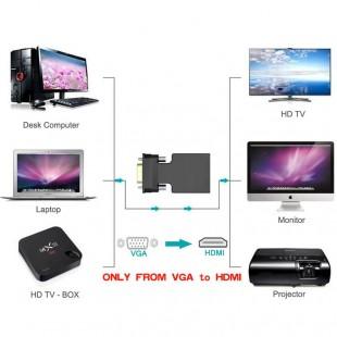 خرید تبدیل VGA و صدا به HDMI با کابل صدا و پاور به طول 20 سانتی متر