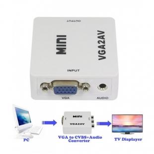 تبدیل VGA به AV ونتولینک مدل MINI با ورودی AUX صدا