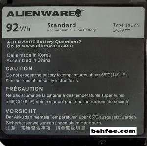 باطری لپ تاپ دل مدل  AlienWare 15-R1_191YN مشکی-داخلی اورجینال