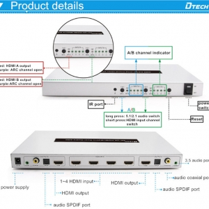 سوئیچر HDMI دیتک مدل DTECH DT-7442