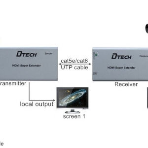 اکستندر HDMI با کابل CAT6 دیتک 50متر DTECH DT-7009C HDMI Extender Over Cat6 50m