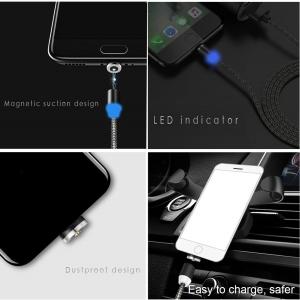 کابل شارژ مگنتی چند کاره مدل   Magnetic USB Charging Cable Micro USB Type C Lighting with LED DP-S06