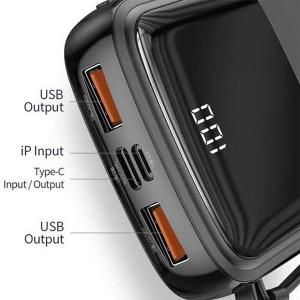 پاور بانک بیسوس Baseus Q pow Digital Display 3A Power Bank 10000mAh (With IP Cable)Black