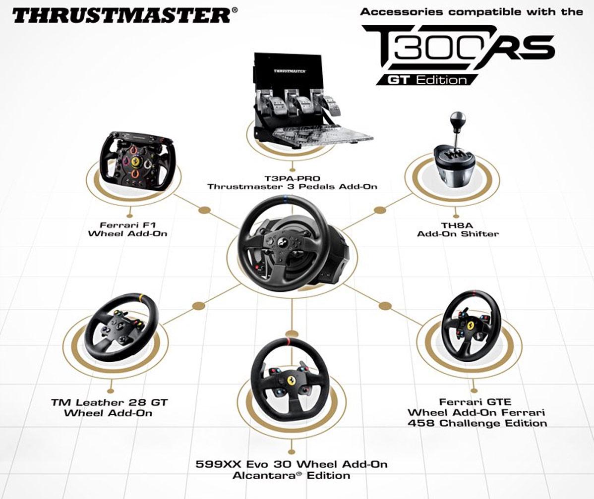 دسته فرمان و پدال بازی تراست مستر مدل T300 RS GT برای PC و پلی استیشن 4