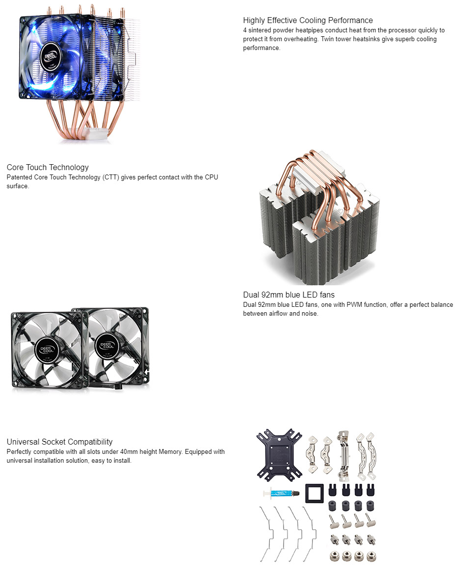 مشخصات و قیمت خنک کننده سی پی یو دیپ کول مدل FROSTWIN LED