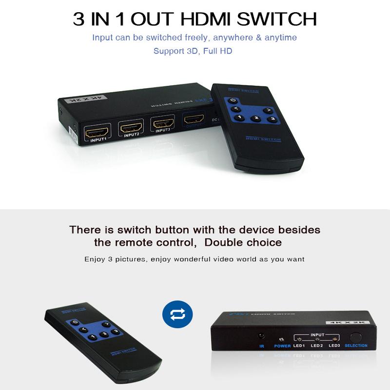 سوییچ 1 به 3 HDMI مدل LKV331A