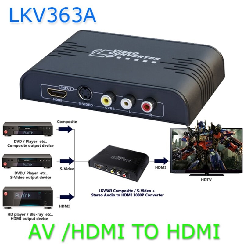 مبدل AV و S-Video به HDMI مدل LKV363A