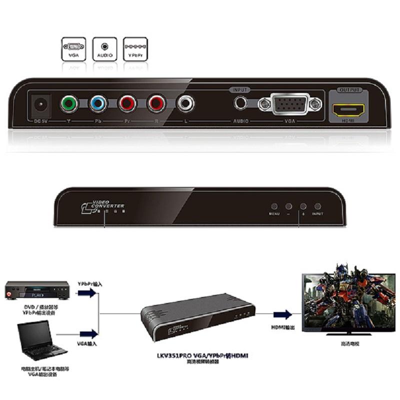 قیمت خرید مبدل VGA+YPbPr به HDMI لنکنگ مدل LKV351PRO همراه با پنل کنترلی OSD