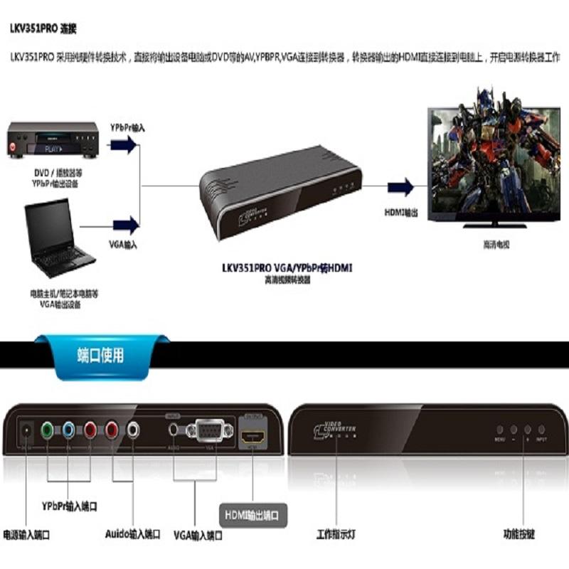 خرید مبدل VGA+YPbPr به HDMI لنکنگ مدل LKV351PRO