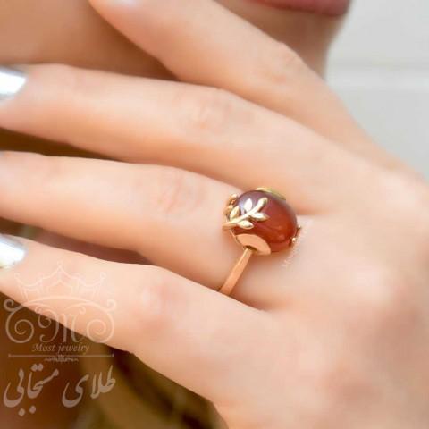 انگشتر طلا و عقیق اصل