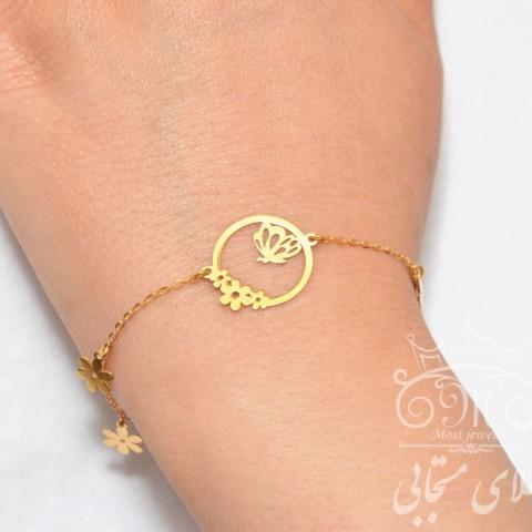دستبند طلای گل و پروانه