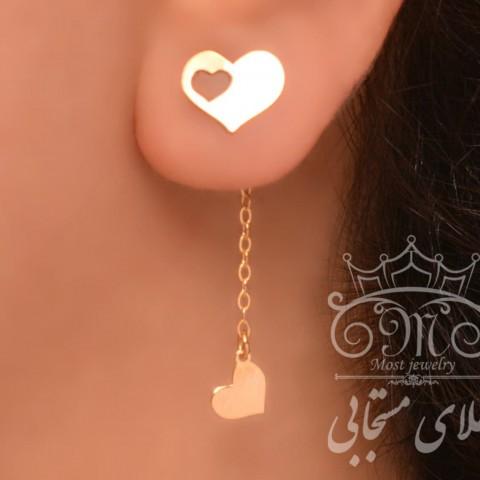 گوشواره بک ایر قلب طلا