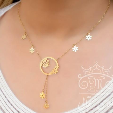گردنبند طلای گل و پروانه