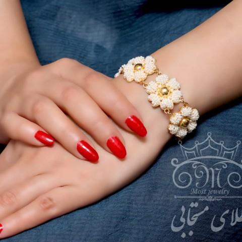 دستبند طلای مروارید خشخاشی