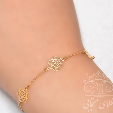 دستبند طلای گل رز