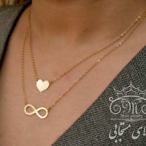 گردنبند طلای دولایه قلب و بی نهایت