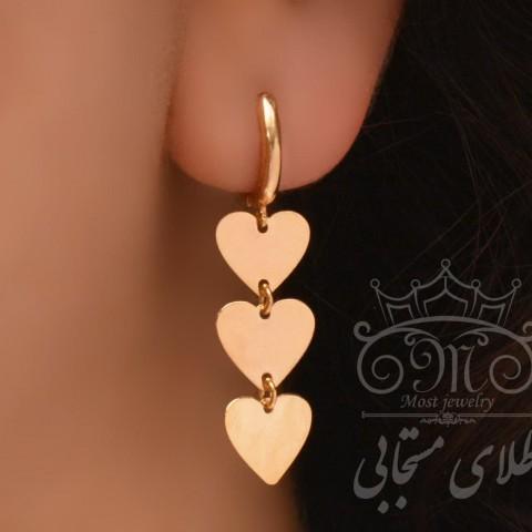 گوشواره طلای سه قلب
