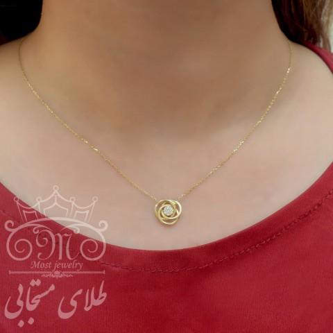 گردنبند طلای گل (وزن نگین کسر شده است)