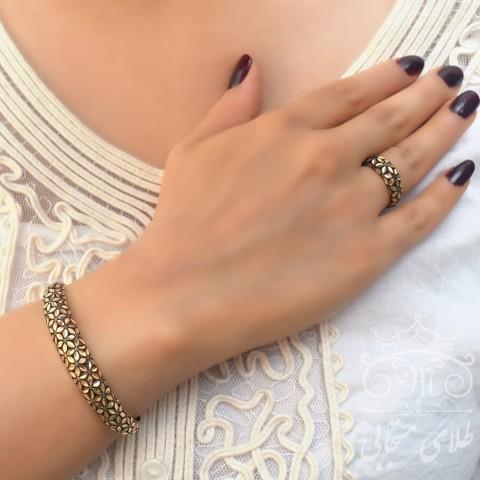 ست دستبند و انگشتر طلا پاکزر