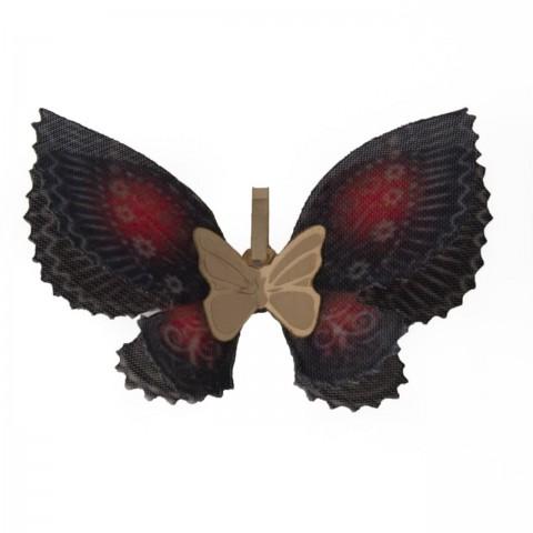 آویز طلای پروانه پارچه ای قرمز و مشکی