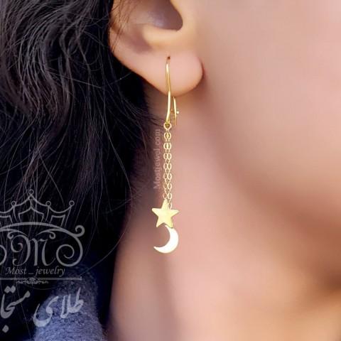 گوشواره آویز ماه و ستاره